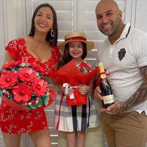 Maria celebrating valentine's day with her family