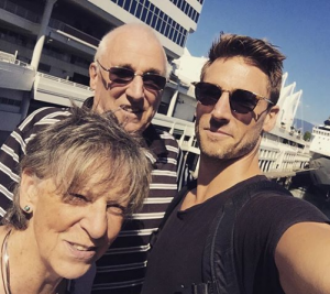 Actor Andrew Walker with his mom and dad at the Vancouver Airport