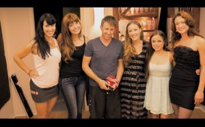 Amanda with her co-actor and friends of movie Turned Inside Out.