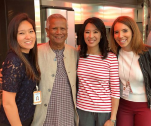 Scarlet Fu with a Nobel Prize Winner, Muhammad Yunus and her friends.