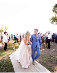 Vanessa and Landon took a picture in ther wedding ceremony