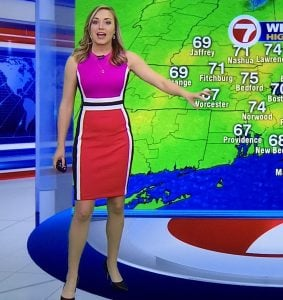 Jackie Layer presenting a weather news in WHDH Boston.
