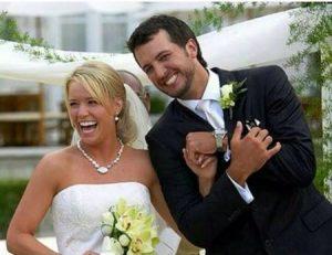 Caroline Boyer and Luke Bryan Wedding picture.