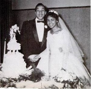 Her husband, Smokey with her ex-wife, Claudette Rogers wedding picture.
