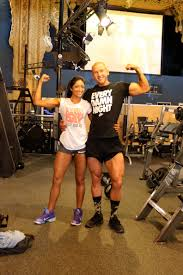 Sumeet with her husband doing work out.