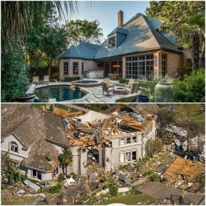 Tyler's mansion before and after Tornado hit Dallas