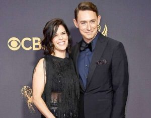 JJ Feild with his partner, Neve Campbell.