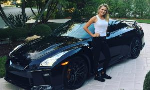 Thompson showing her new Black-Blue Nissan GT-R.