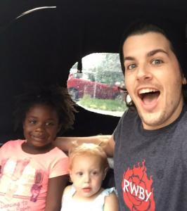 Jon with his two daughter enjoying his free time.