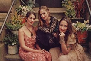 Domino Kirke with her sisters, Jemima and Lola.