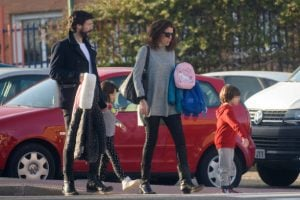 Alvaro and his family caught in camera while walking at the streets of Madrid, Spain