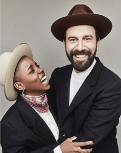 Brett and his Former wife Janicaza took a picture during a photoshoot at the studio