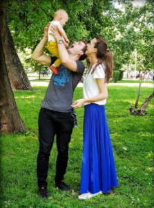 Daria with her husband Anton and baby max