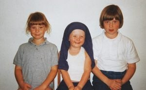 Kate Nash (far left) with her sisters, Helen and Clare in early childhood.