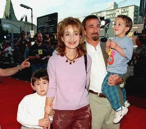 James with his wife and two sons, Doc and Harry.