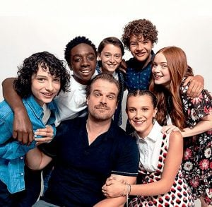 David with his co-actors of Stranger Things series.