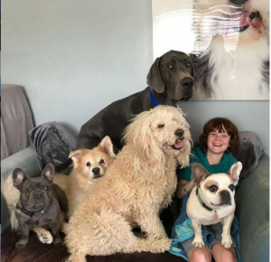 Kyle took a picture with his five adorable pets