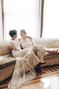 Gronlund with her lovely wife, Torri on their wedding day.